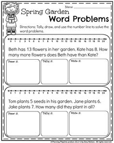 word problem printable worksheets for kindergarten addition and  free first grade word problems for spring  addition and subtraction st  grade math