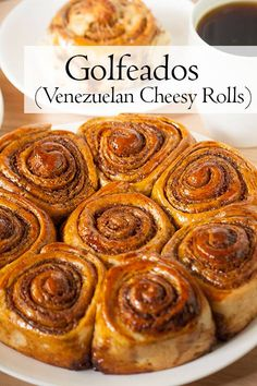 Call them cheesy rolls or sticky buns Golfeados are a wonderful Venezuelan sweet and salty treat that combines robust panela sugar with a semi-hard cheese. Serve these rolls with a hot beverage for breakfast a morning snack or afternoon tea! Brunch Recipes, Breakfast Recipes, Dessert Recipes, Desserts, Venezuelan Food, Venezuelan Recipes, Homemade Pancakes, Sticky Buns, Savory Breakfast