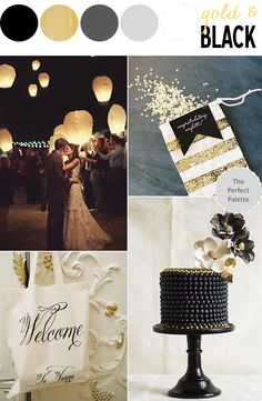 Pretty Palette | Gold + Black Wedding Inspiration http://www.ohlovelyday.com/2013/09/gold-black-wedding-inspiration.html