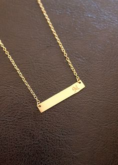 BIG SALE Gold Bar Necklace Pendant Necklace by BenyDesign on Etsy