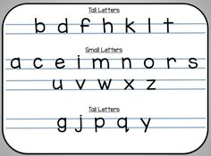 https://drive.google.com/file/d/0Bwy_8L1vfUHTendYODBzQUstXzA/view?usp=sharing  FREEBIE, click on the link to get this Tall, Small, and Tail letter resource.  Great for Writer's Workshop folders.