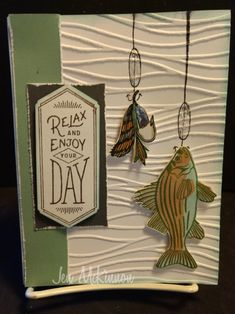 CTMH. Let's go fishing. Fresh air stamp sets. Masculine cards.