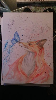 watercolour fox and butterfly