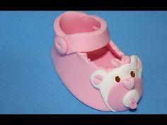 Como hacer un zapato de bebé en fondant. Baby shoe cake topper