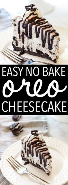 This Easy No Bake Oreo Cheesecake is smooth, creamy and full of delicious Oreos! It's the perfect cheesecake recipe and it's so easy to make! Cheesecake Oreo Sin Horno, Oreo Cheesecake Recipes, Easy No Bake Cheesecake, Cheesecake Bites, No Bake Desserts, Easy Desserts, Dessert Recipes, Homemade Cheesecake, Oreo Recipe