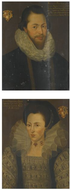 manner of Marcus Gheeraerts the Younger,   Richard Perceval of Twickenham, Somerset and his wife Alice, daughter of John Sherman of Ottery St Mary, Devon 1599   each portrait later inscribed w the identities of the sitters and emblazoned w their arms