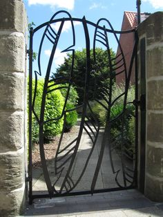 Gate in Beverley, England this is creative and functional love it Metal Gates, Wrought Iron Gates, Door Gate, Fence Gate, Fencing, Front Gates, Entrance Gates, Craftsman Front Doors, Steel Gate