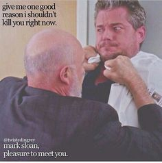 Mark Sloan and Carlos Torres (Callie's father) | funny Grey's Anatomy quotes