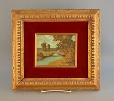$129 + $15 shipping for sale 2021 This painting painting shows a peaceful landscape with a few small houses in the distance. It is signed in the lower right, S. Gruber. Category of your choice. Oil Paint On Wood, Painting On Wood, White Building, Red Roof, Vintage Art Prints, Small Houses, Miniatures, Japan, Landscape