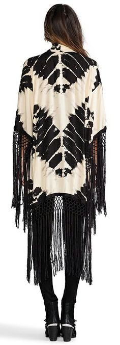 Black and White Tie Dyed Kimono