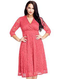 0e1a3e21823c5 LookbookStore Women s Plus Size Lace Bridal Formal Skater Dress 12W-32W at  Amazon Women s Clothing store