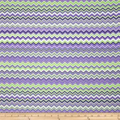 A.E. Nathan Chevron Purple/White/Green from @fabricdotcom  Designed for A.E. Nathan, this cotton print is perfect for quilting and craft projects as well as apparel and home décor accents. The stripe is horizontal to the selvedge as pictured. Colors include green, white and purple.