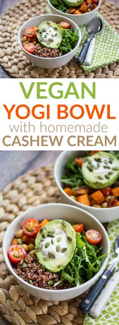 Nothing spoils a great session on the yoga mat like a not-so-wholesome meal. These yogi bowls are filled with protein-packed quinoa arugula and pepita seeds. Tomatoes add a bright burst of flavor while avocado and cashew sauce add a creamy texture to the mix. These bowls will become your favorite post-workout fix!
