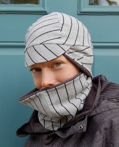 Winter Warrior Cycling Cap and Cowl Set (S) of Recycled Jersey Stripe. $55.00, via Etsy.