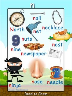 n words - FREE PRINTABLE phonics poster for auditory discrimination, sound studies, vocabulary and classroom reference.