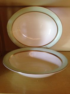 Vintage Pope Gosser ' Spring ' Dinnerware 2 Oval Serving Bowls - Mint Green and Coin Gold USA - Downton Abbey Style by ThePinkVintageRose on Etsy