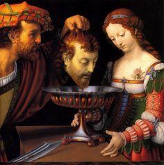 Andrea Solari or del Gobbo (1460-1524)-'Salome with the head of Saint John the Baptist'-oil on canvas