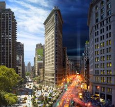 Day to Night: One Image Captures a Day in New York. My absolute favorite building in NYC. The Flatiron Building! Flatiron Building, Chrysler Building, Framing Photography, Night Photography, Photography Ideas, Creative Photography, Landscape Photography, Photography Settings, Photography Series