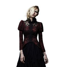 Red Punk Long Sleeve Furry Collar Gothic Outer Forked Dovetail Women Asymmetric Coats