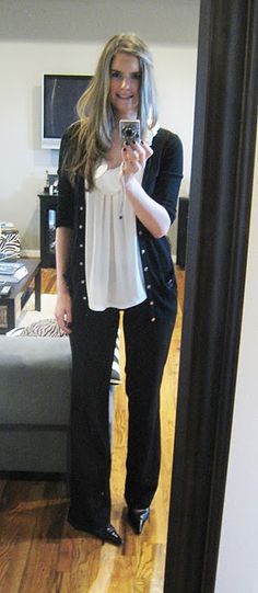 Stitch fix: Perfect work Outfit flowy white blouse with the black dress pants and black cardigan