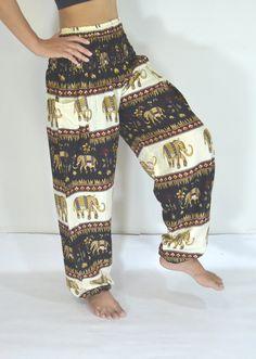 Thai Yoga Pants Black cream color/Harem Pants/Boho/Elephant Print design/Drawstring elastic waist/Comfortable wear/Trousers/Handmade/Baggy.