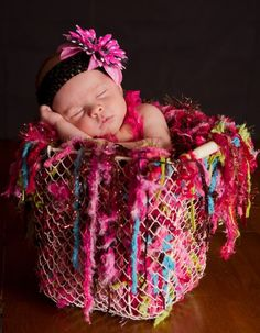 Baby Girl Fringe Blanket Photo Prop HAMMOCK. 'Berry Modern' with Pink, Raspberry Red, Lime Green, Turquoise, Chocolate Brown. $95.00, via Etsy.