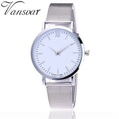Hot Selling Vansvar Casual Women Quartz Watch Silver And Gold Mesh Band Simple Dial WristWatch Best Gift Relogio Feminino V72
