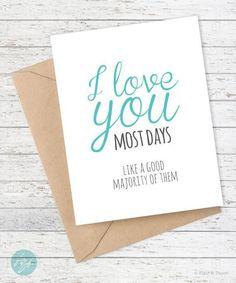 Birthday card boyfriend card funny girlfriend birthday card i love i love you most days cards bookmarktalkfo Images