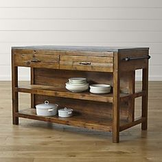 Bluestone Kitchen Island from Crate and Barrel is too expensive at $1999.  But, would something like this work at a right angle to the current countertop then put open shelves up on that wall with the Brinks control on it?