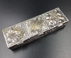 Vintage Silver Repousse Autumn Harvest Pill Box  by MonteCristosNC
