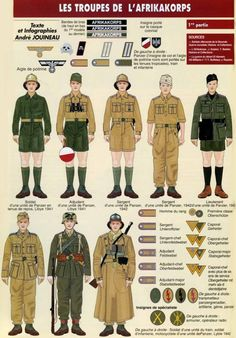 Soldiers of the Afrika Korps of the German Wehrmacht Military Cards, Military Pins, Ww2 Uniforms, German Uniforms, Military Uniforms, German Soldiers Ww2, German Army, Army Drawing, Afrika Corps