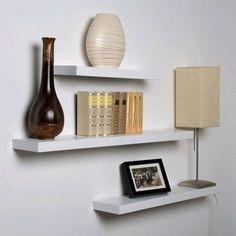3 Mensole In Legno Bianco Nuove Porta Arredo / Dvd Cd Mensola Libreria Scaffale