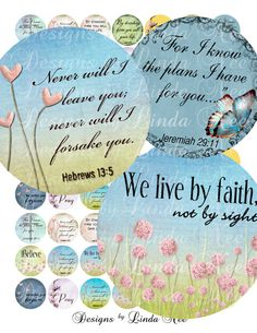 NEW - CHRISTian Scripture 4 (1 inch Round) Bottlecap  Digital Collage Sheet BUY 2 GET 1 Sale- glass wood tiles printable stickers magnet via Etsy