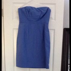 J crew blue strapless bridesmaids dress Only worn once blue j crew bridesmaids dress. Does not look bridesmaidy-super cute and has pockets! Size 8 J. Crew Dresses Strapless