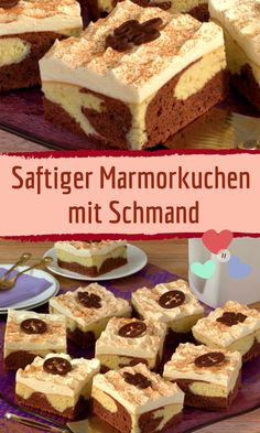 Juicy marble cake with sour cream- Saftiger Marmorkuchen mit Schmand Marble cake with sour cream from the tin - Cinnamon Cream Cheese Frosting, Cinnamon Cream Cheeses, Cake Recipes, Snack Recipes, Sour Cream Cake, Marble Cake, Pumpkin Spice Cupcakes, Food Cakes, Fall Desserts