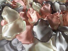 Blush pink tea stained, grey/silver & ivory flower petals, blush rose petals, blush table decor, flower girl petals, wedding