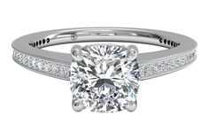 Micropavé Diamond Band Engagement Ring with Milgrain Finish - in Platinum (0.40 CTW)