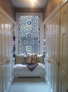 "Delia Shades' Custom Solar Shade in ""Star Jali"" pattern - eclectic - closet - new york - Delia Shades Casa Magnolia, Design Marocain, Curtain Alternatives, Interior And Exterior, Interior Design, Interior Styling, Solar Shades, Bathroom Windows, Home And Deco"