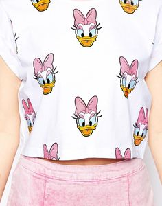 ASOS Cropped T-Shirt with Daisy Duck Glitter Print  1