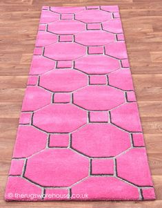 Cassin Pink Runner, a bright modern pink, brown & light grey hallway rug (hand-tufted, 100% wool) http://www.therugswarehouse.co.uk/hall-runners/matrix-runners/cassin-pink-runner.html  #hallrunners #rugs #interiors