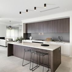 Amazing modern kitchen in polytec Cafe Oak Ravine. Oak Park | Oswald Homes