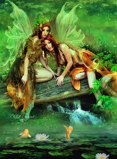 Sisters by *DesignbyKatt on deviantART ... two fairies