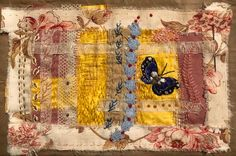 Vintage fabric collage and hnd stitching. Ann Stephens Textile Art, Fiber Art, Collage, Textiles, Embroidery, Quilts, Sewing, Fall, Fabric