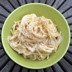Meyer lemon spaghetti with goat cheese ~