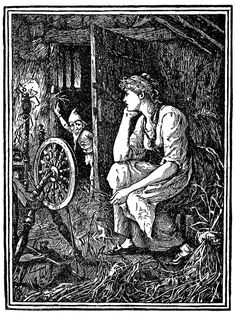 "'Suddenly the door opened, and in stepped a tiny little man.' Rumpelstiltskin Illustration by Henry J. Ford from Andrew Lang's ""The Blue Fairy Book"" #fairy tales #vintage illustration"