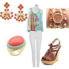 Have the top, pants, and wedges. Also have the watch in a different color :) created by jwp0709 on Polyvore
