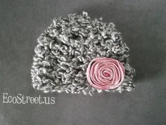 Baby Girl Hat Newborn Crochet Hat in Gray with Pink by EcoStreet, $29.00