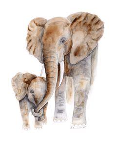 Mom and Baby Elephant Watercolor Art Nursery Wall Art Various Sizes Available, Safari Nursery Decor