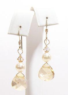 Champagne Teardrop Earrings Ivory Cream Pearls Light by bonitaj, $25.00