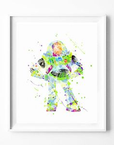 Disney Toy Story Poster Buzz Lightyear Art Print Watercolor Painting Wall Art Home Decor Nursery Kids Wedding Gifts [71]#disney #toystory #buzz #buzzlightyear #watercolor #print #poster #homedecor #wallart #gifts #nuresey #kids
